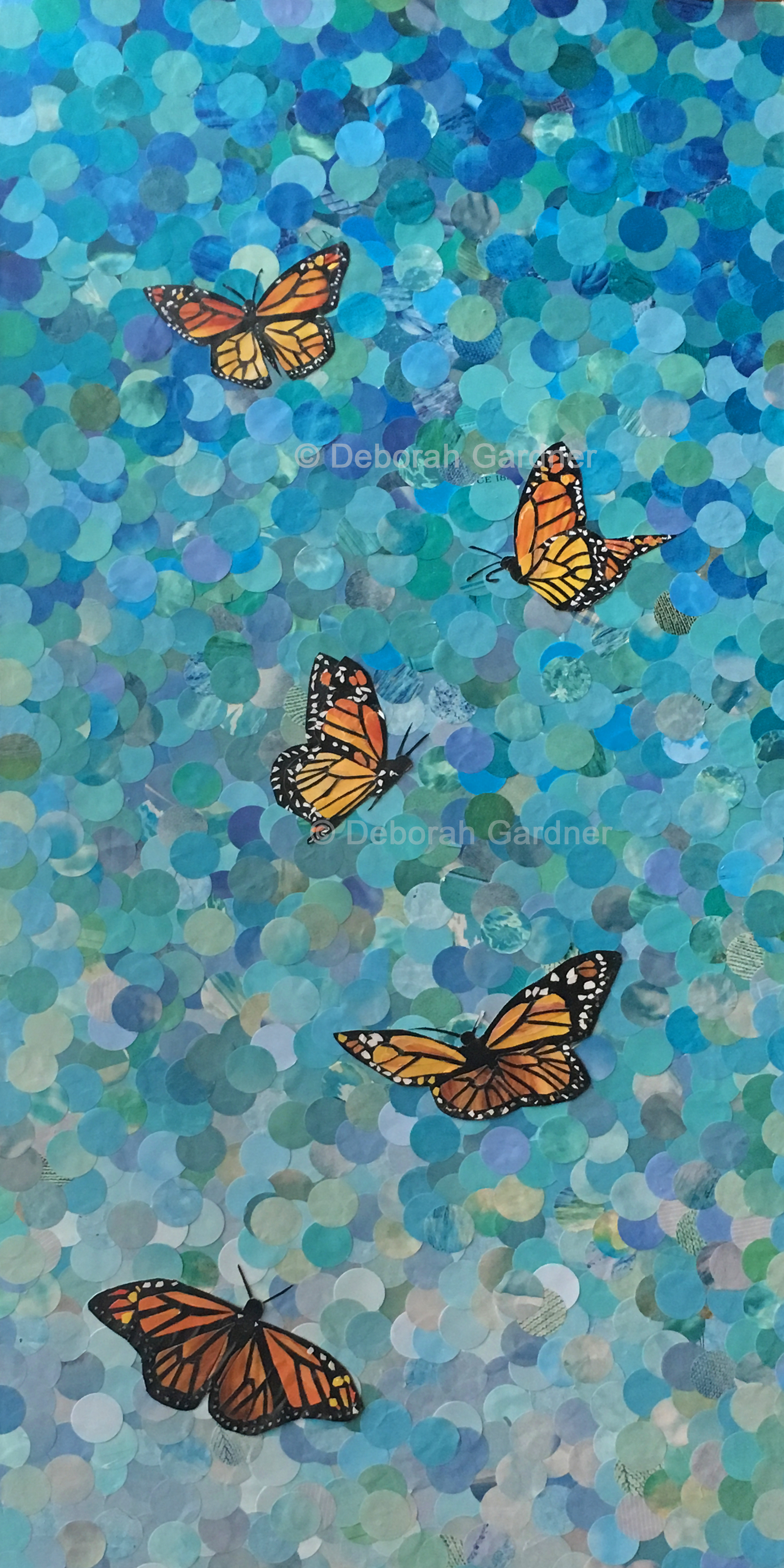 A vertical collage of monarch butterflies against a sky made of blue circles