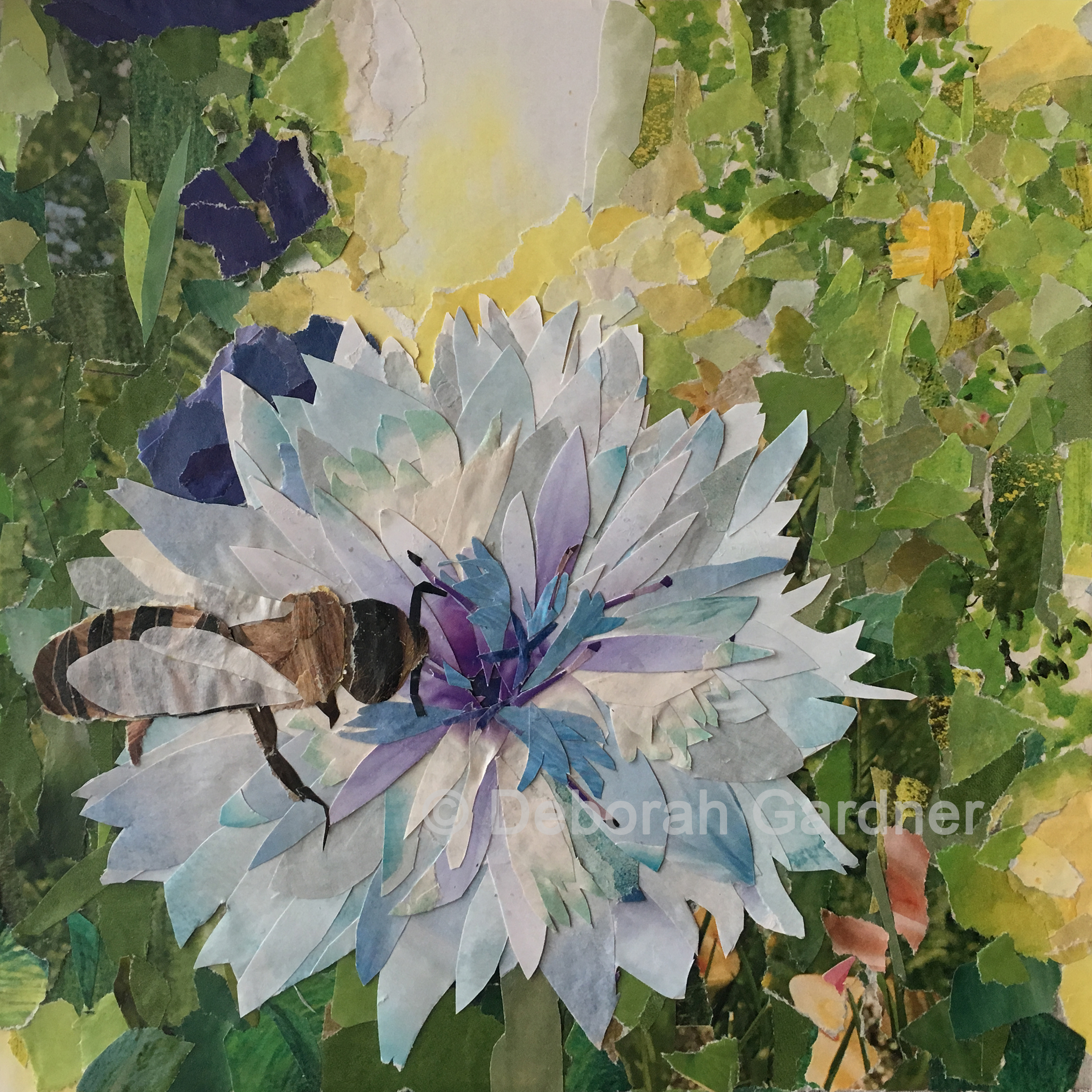 A collage depiction of a bee on a flower in an impressionist garden